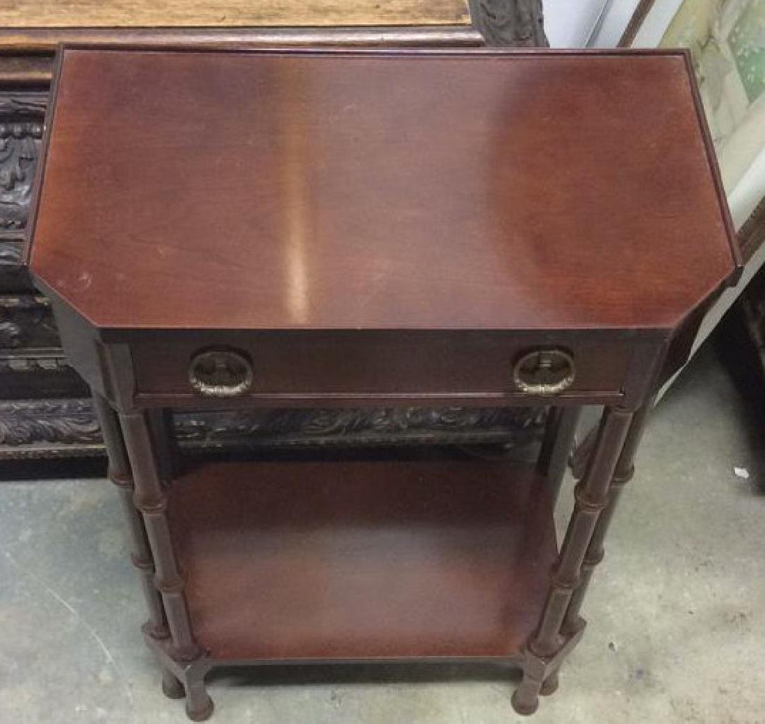 Brown Toned Glazed Wooden Nightstand