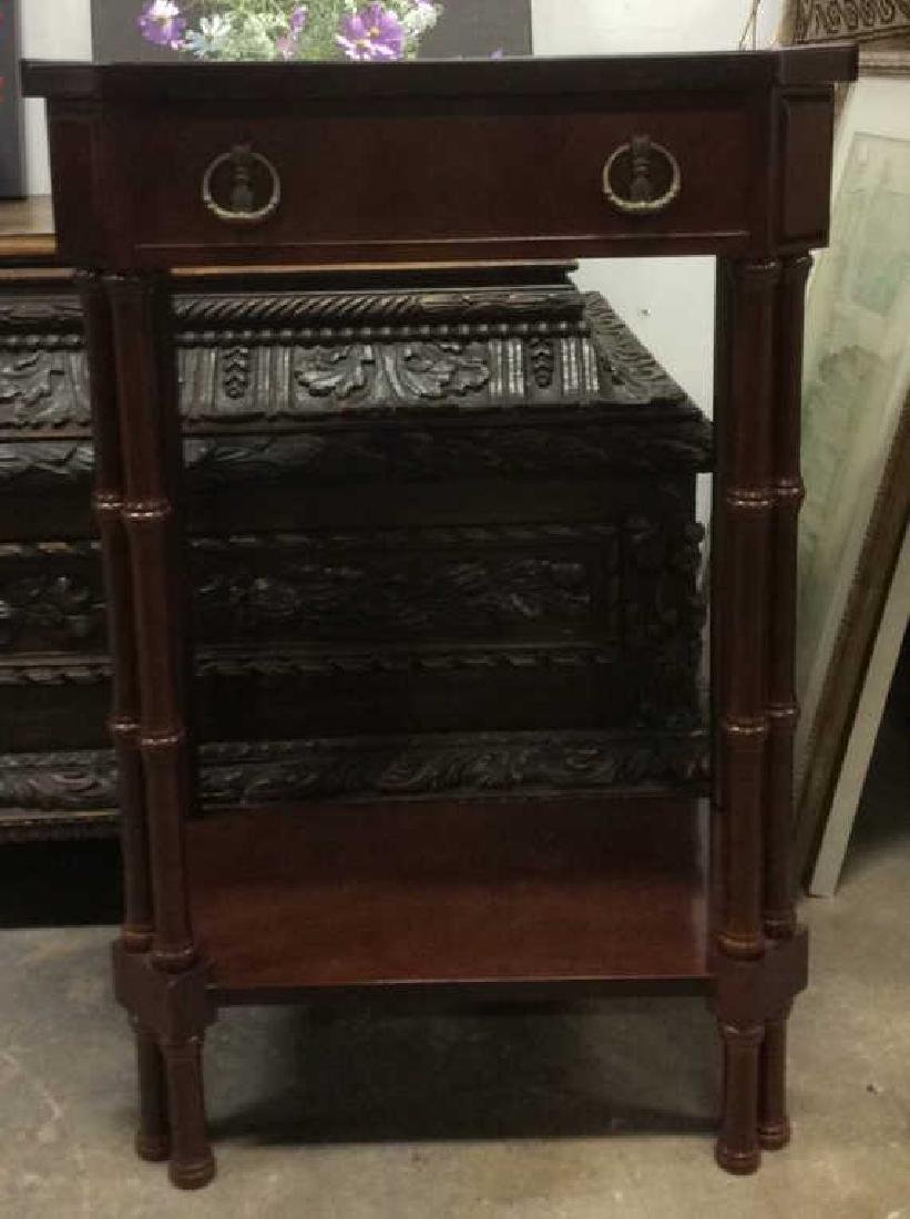 Brown Toned Glazed Wooden Nightstand - 2