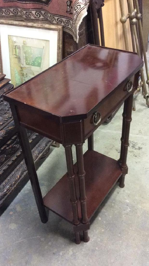 Brown Toned Glazed Wooden Nightstand - 8