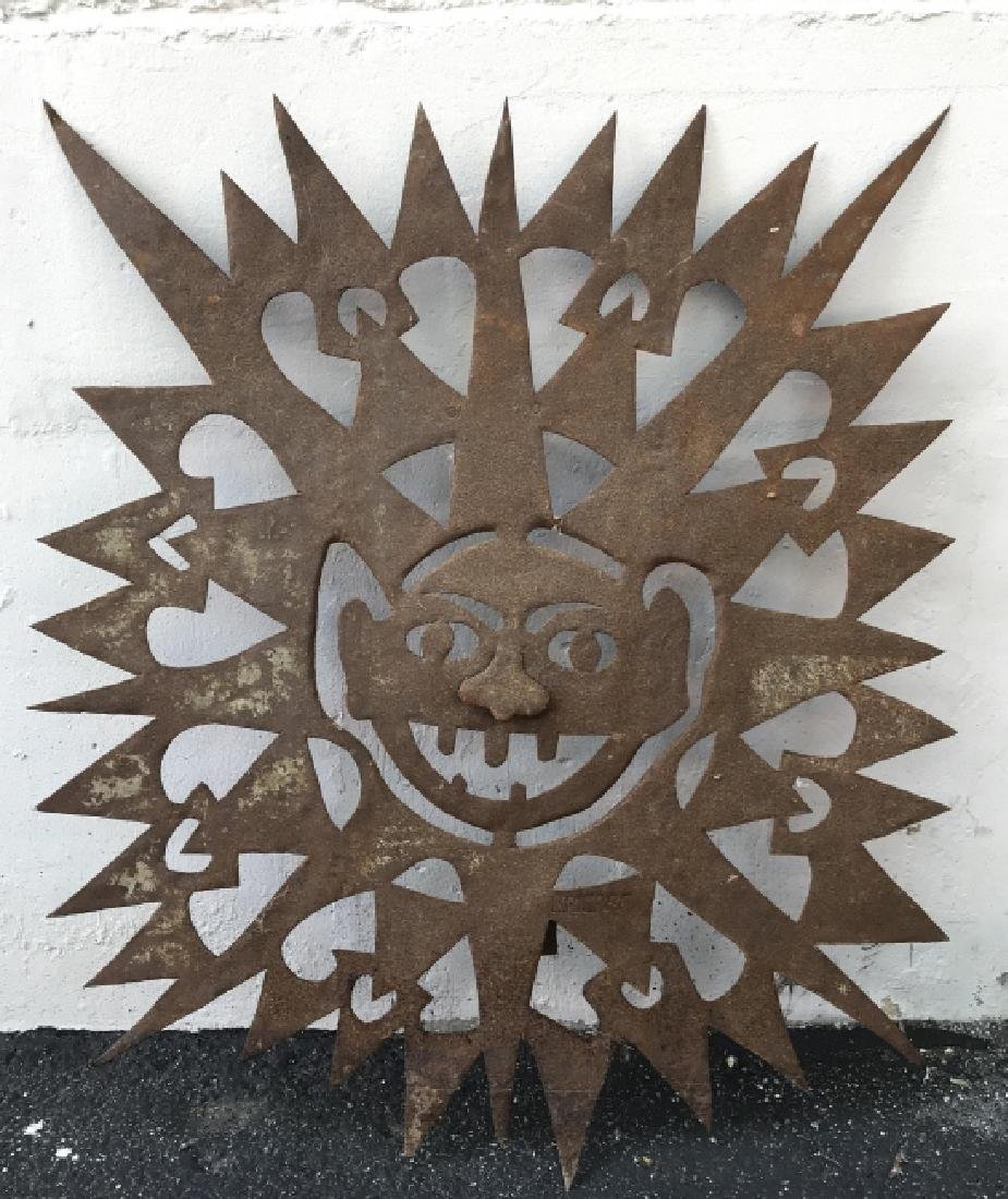 Lot 2 Hand Forged Cut Metal Tribal Wall Art