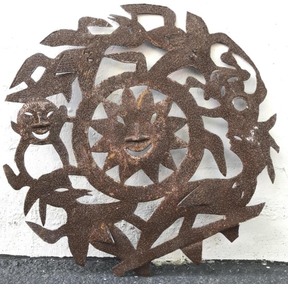 Lot 2 Hand Forged Cut Metal Tribal Wall Art - 4