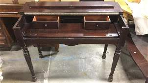 Carved Wooden Mahogany Toned Pull Out Desk