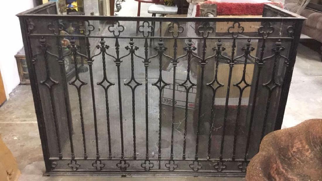 Vintage Black Toned Iron Fireplace Screen
