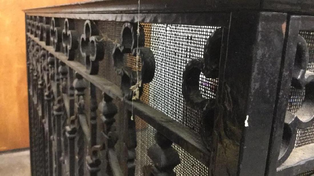 Vintage Black Toned Iron Fireplace Screen - 4