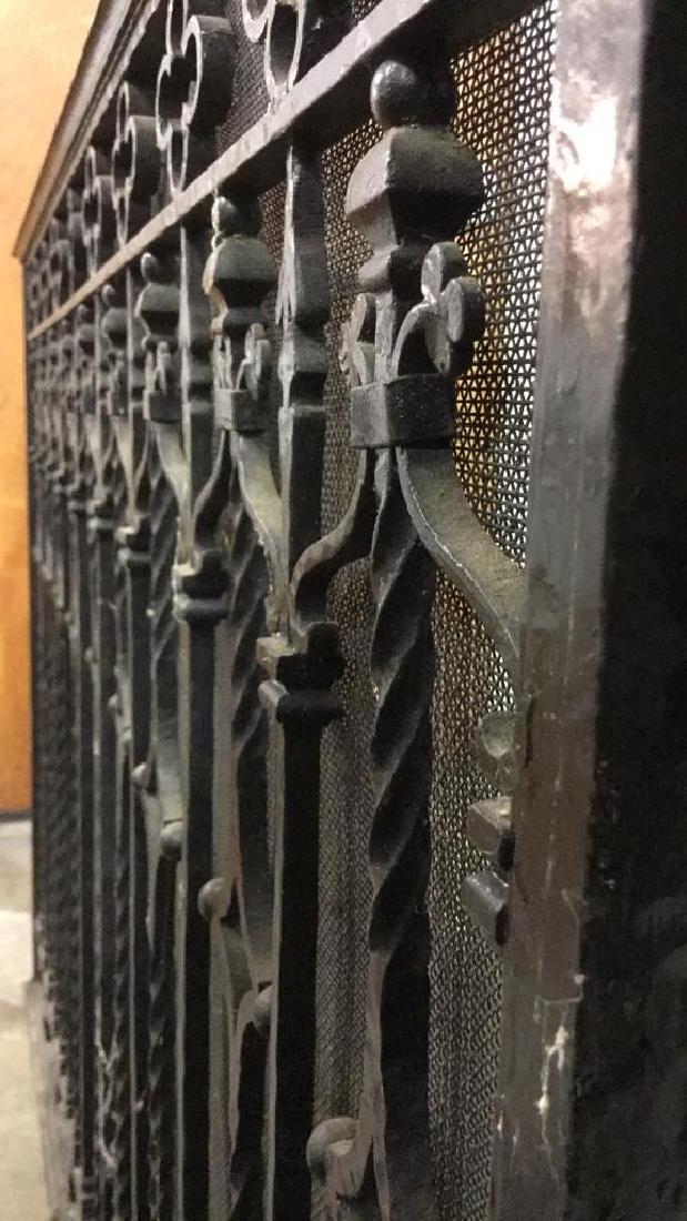 Vintage Black Toned Iron Fireplace Screen - 5