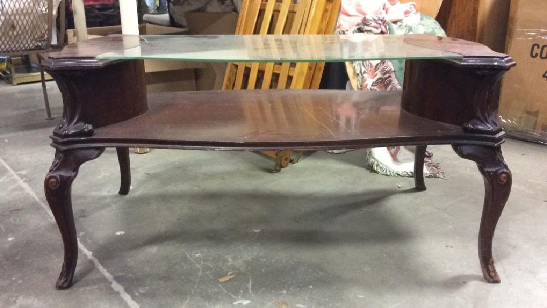 French Style Wood and  Glass Coffee Table