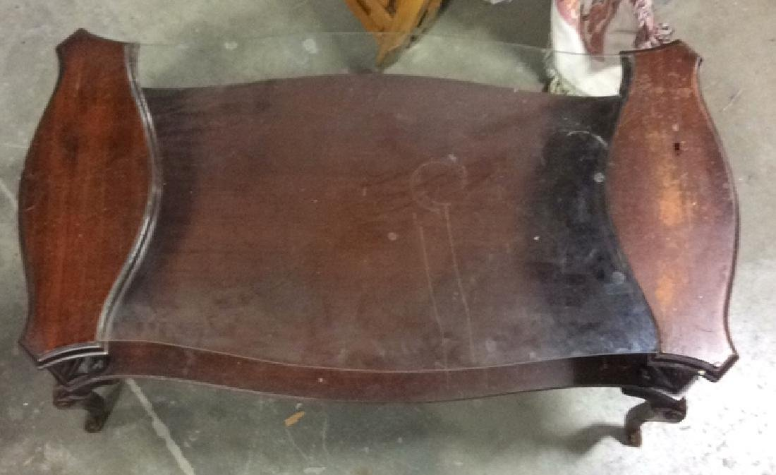 French Style Wood and  Glass Coffee Table - 3