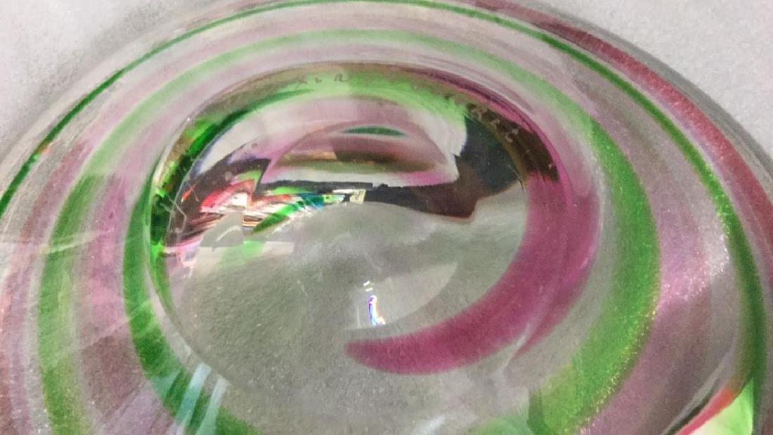Signed Pink Green Swirl ArtGlass Bowl - 10