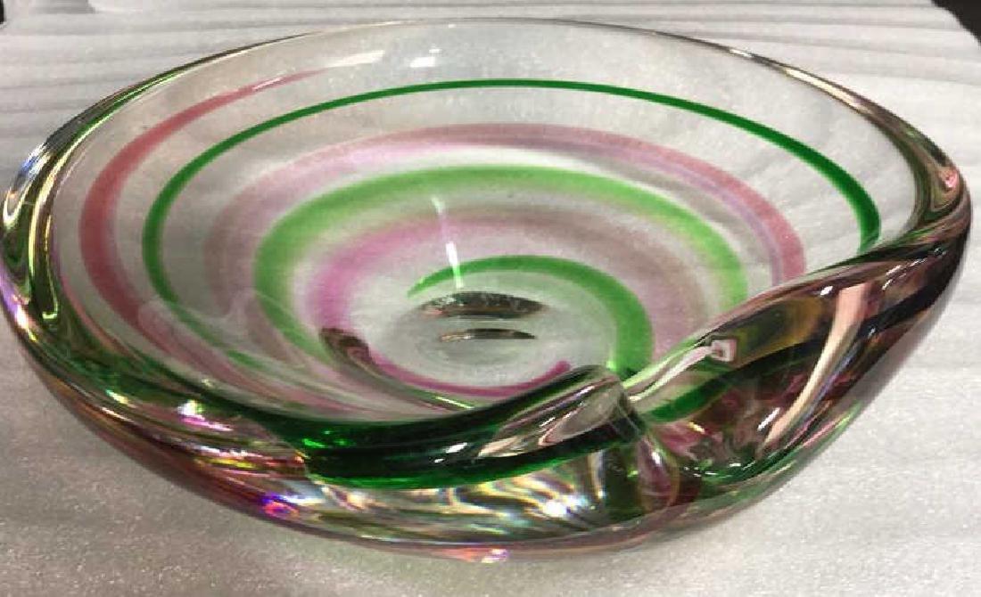 Signed Pink Green Swirl ArtGlass Bowl