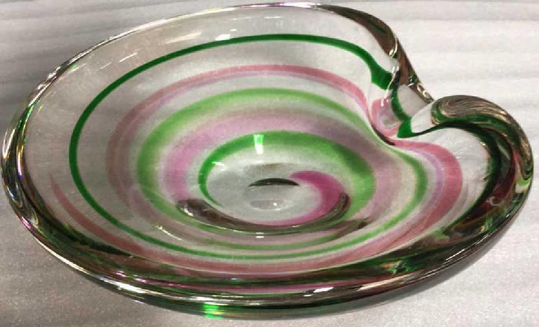 Signed Pink Green Swirl ArtGlass Bowl - 3