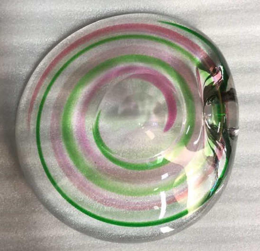 Signed Pink Green Swirl ArtGlass Bowl - 8