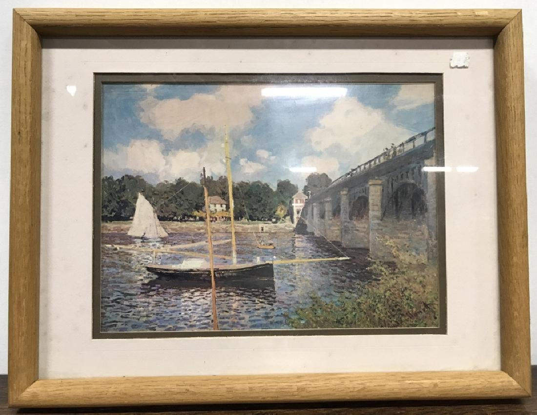 Framed Print Of Boat Near Bridge