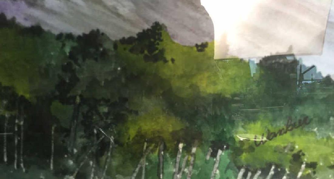 WANBIER Signed Watercolor Artwork Landscape - 5