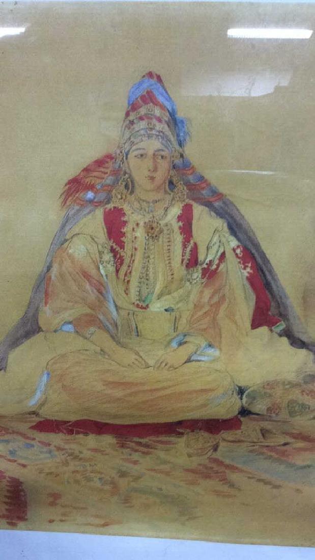 Framed Art Print Seated Woman in  head dress
