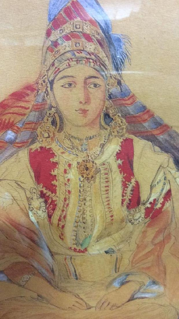 Framed Art Print Seated Woman in  head dress - 2