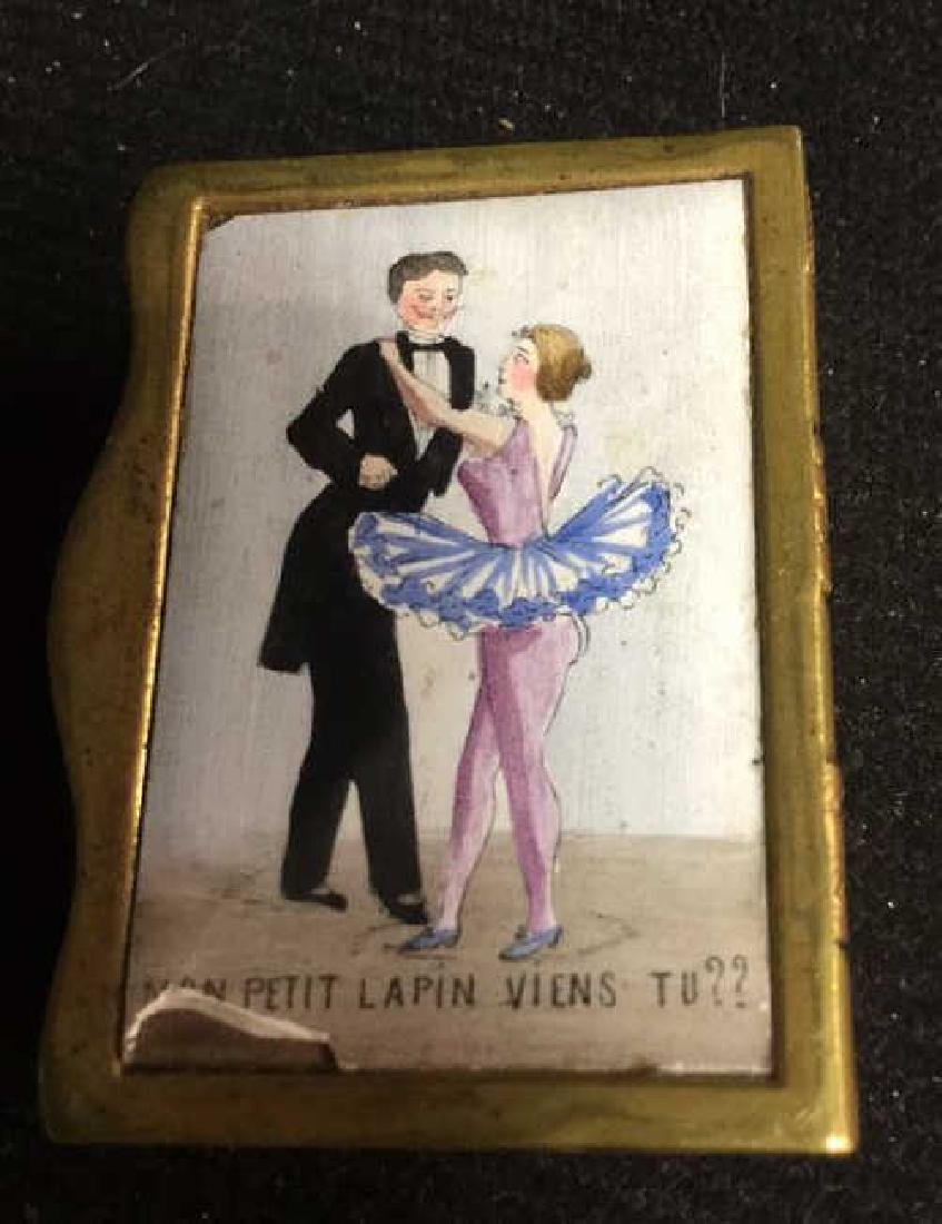 French Two Sided Painted Gold Toned Box - 2