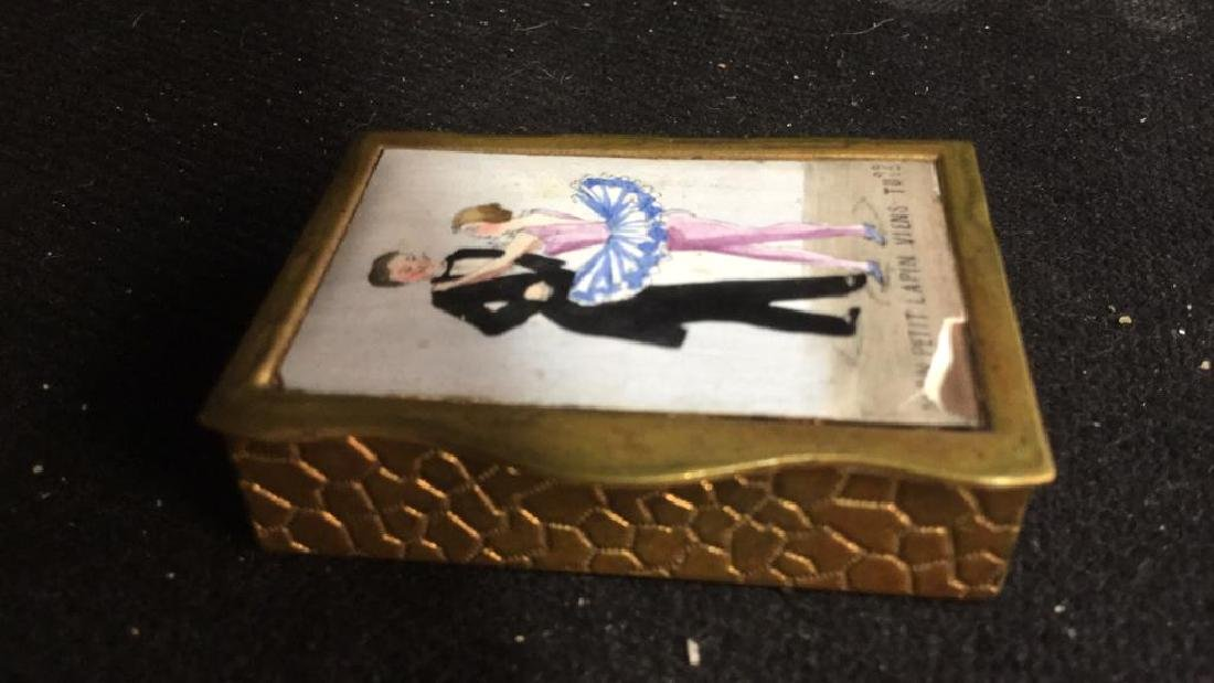 French Two Sided Painted Gold Toned Box - 3