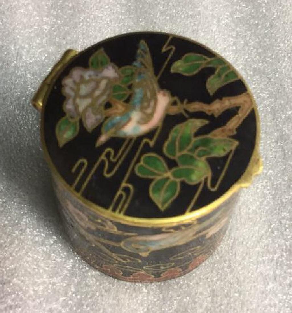 Cloisonne Hinged Lidded Pill Box - 3