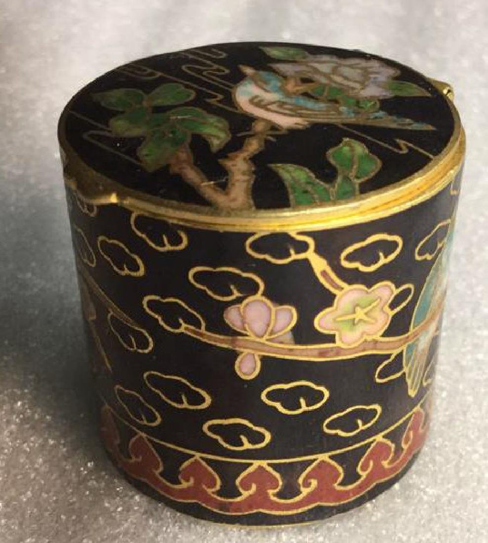 Cloisonne Hinged Lidded Pill Box - 4