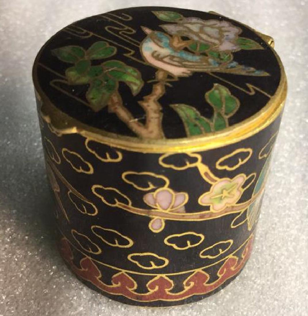 Cloisonne Hinged Lidded Pill Box - 5