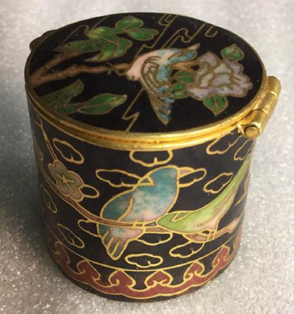 Cloisonne Hinged Lidded Pill Box - 6