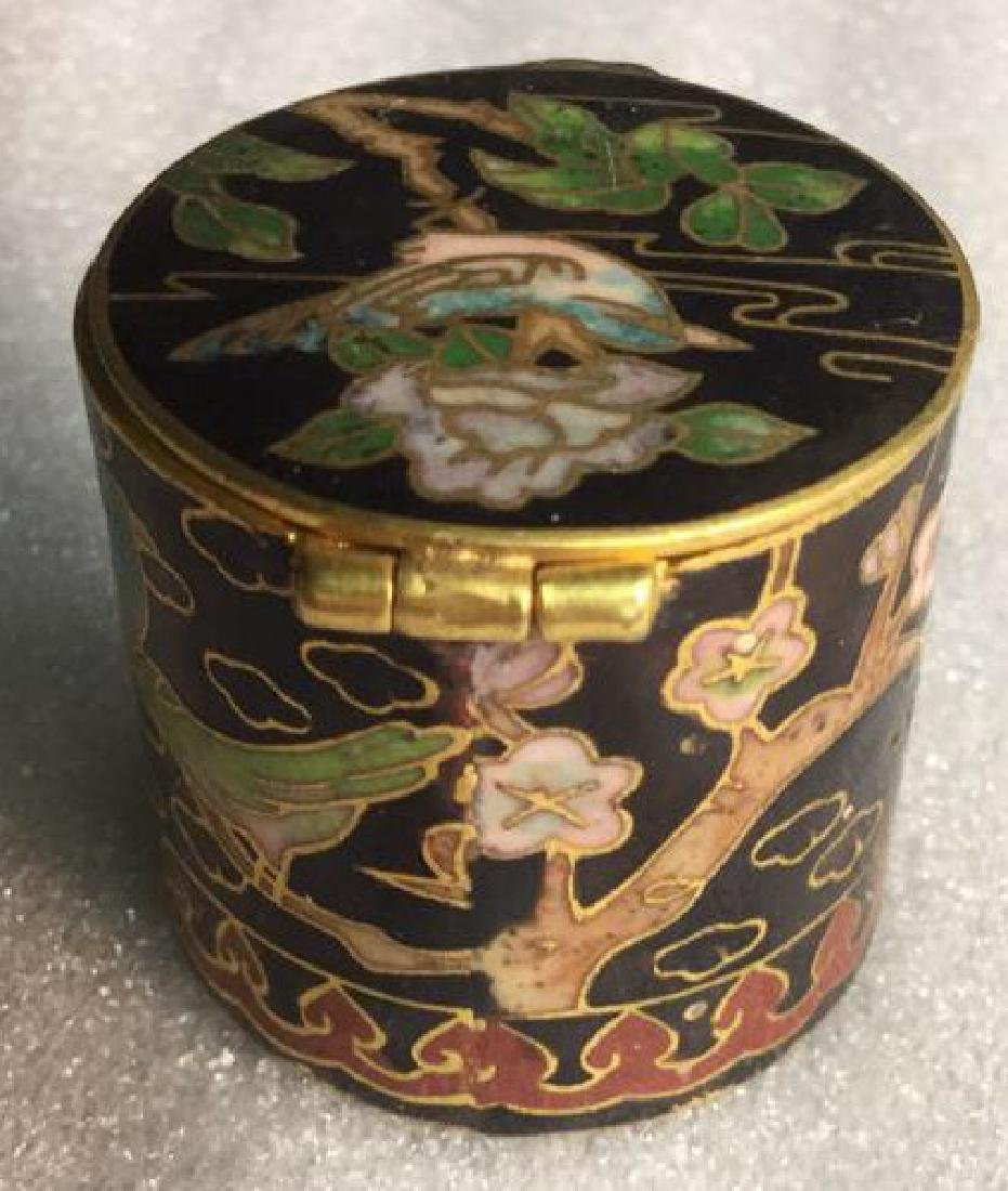Cloisonne Hinged Lidded Pill Box - 7
