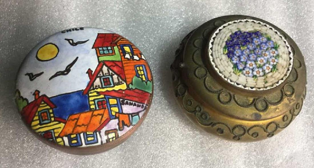 Two Metal and hand artwork pill Boxes