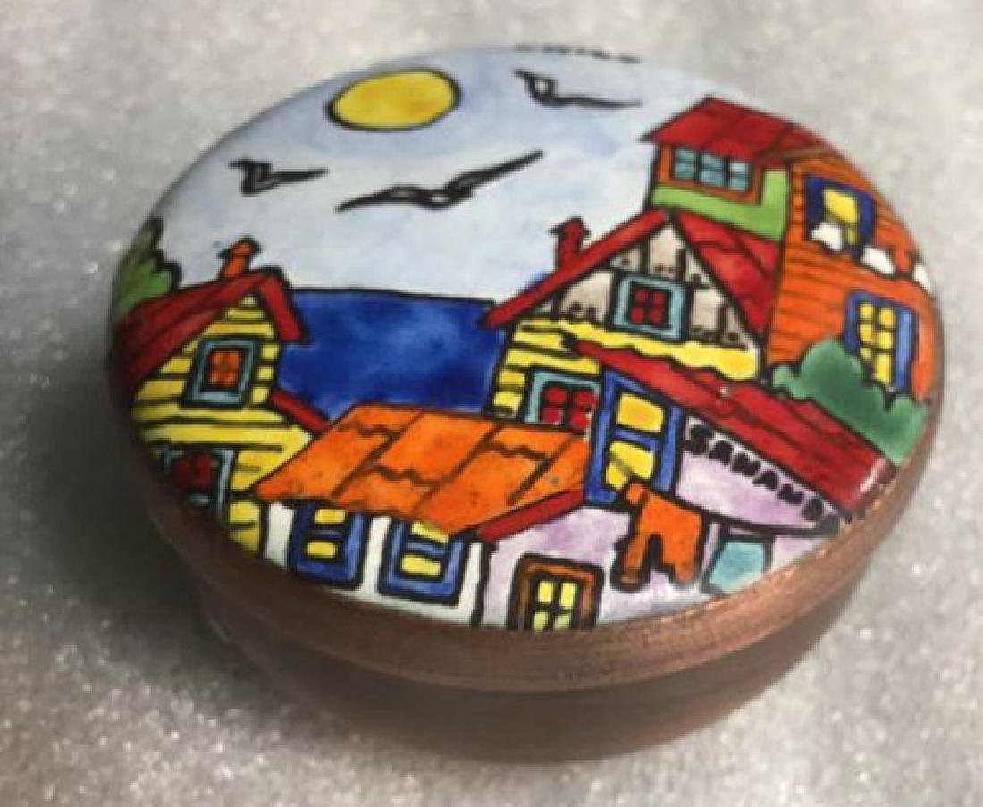 Two Metal and hand artwork pill Boxes - 8