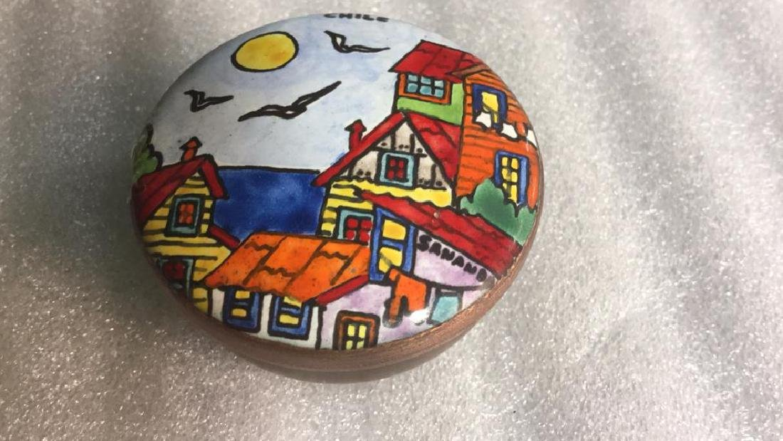Two Metal and hand artwork pill Boxes - 9