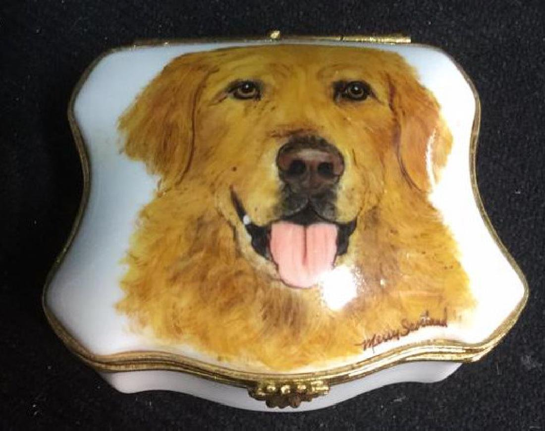 Limoges France Dog Themed Pill Box
