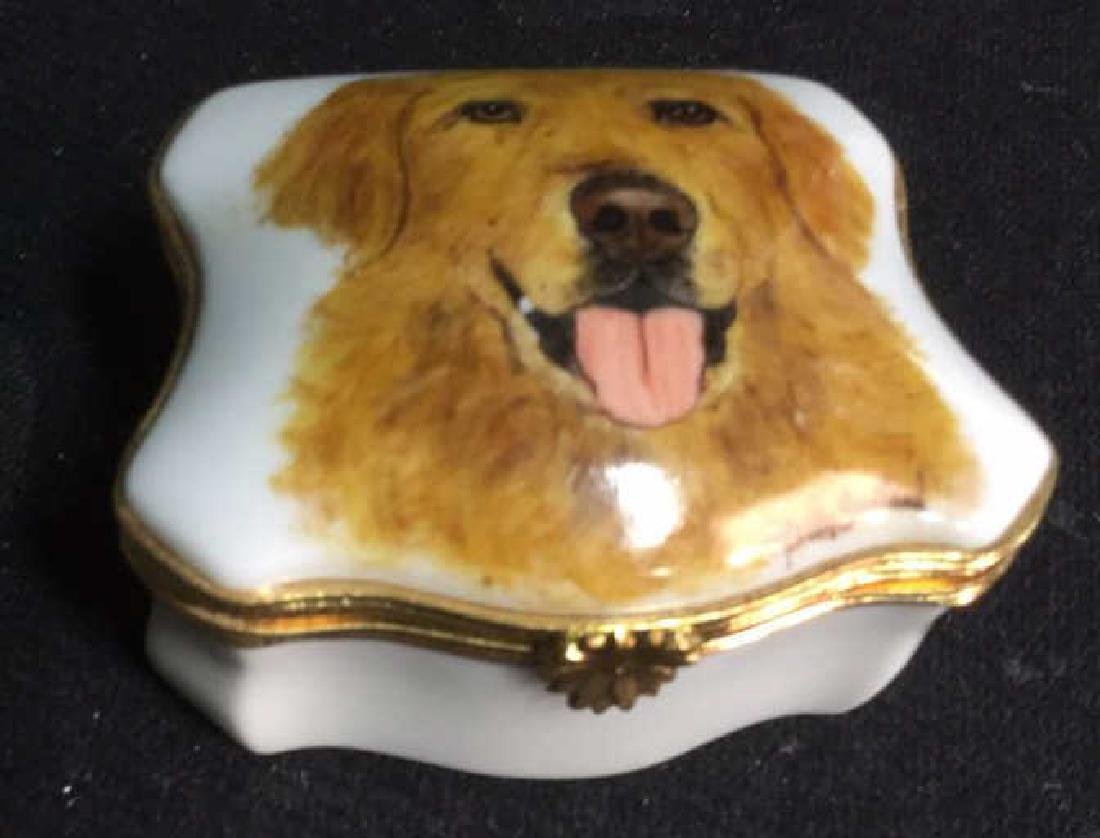 Limoges France Dog Themed Pill Box - 2