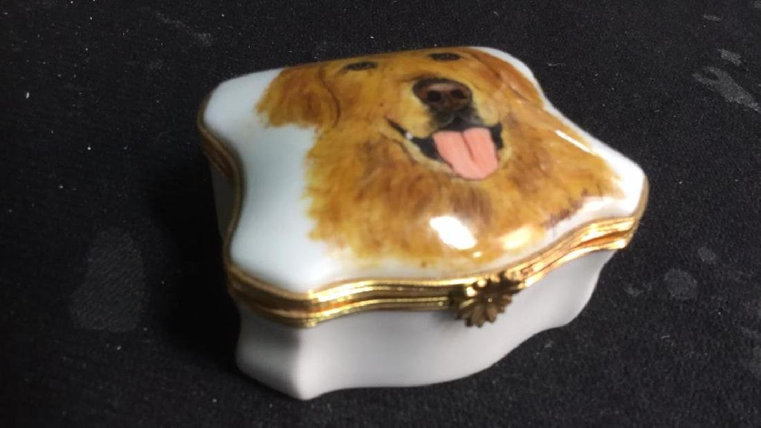 Limoges France Dog Themed Pill Box - 3