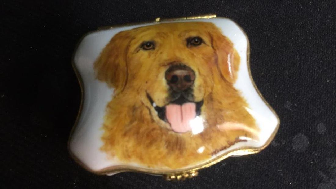 Limoges France Dog Themed Pill Box - 4