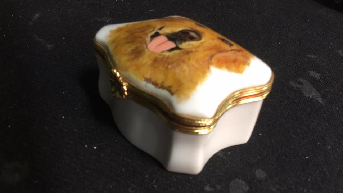 Limoges France Dog Themed Pill Box - 5
