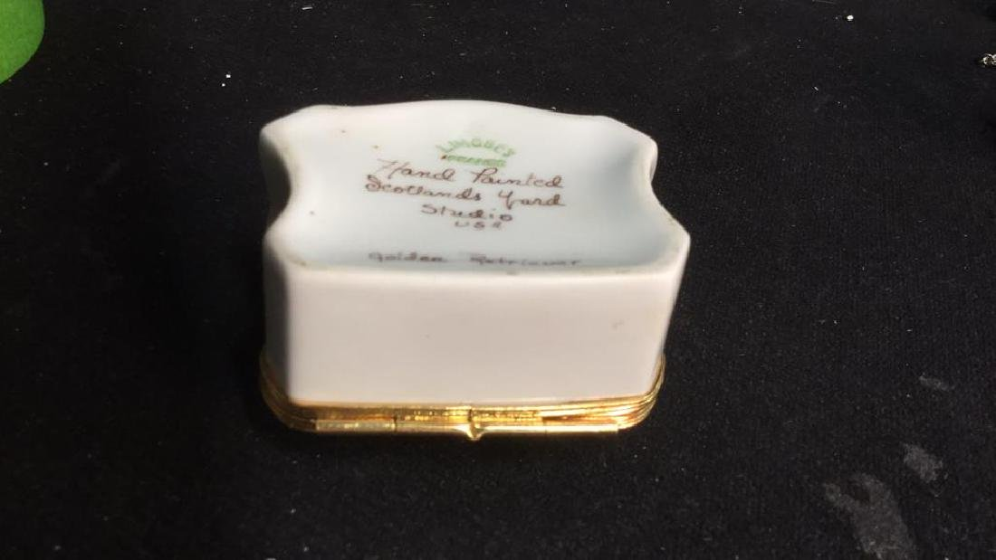 Limoges France Dog Themed Pill Box - 6