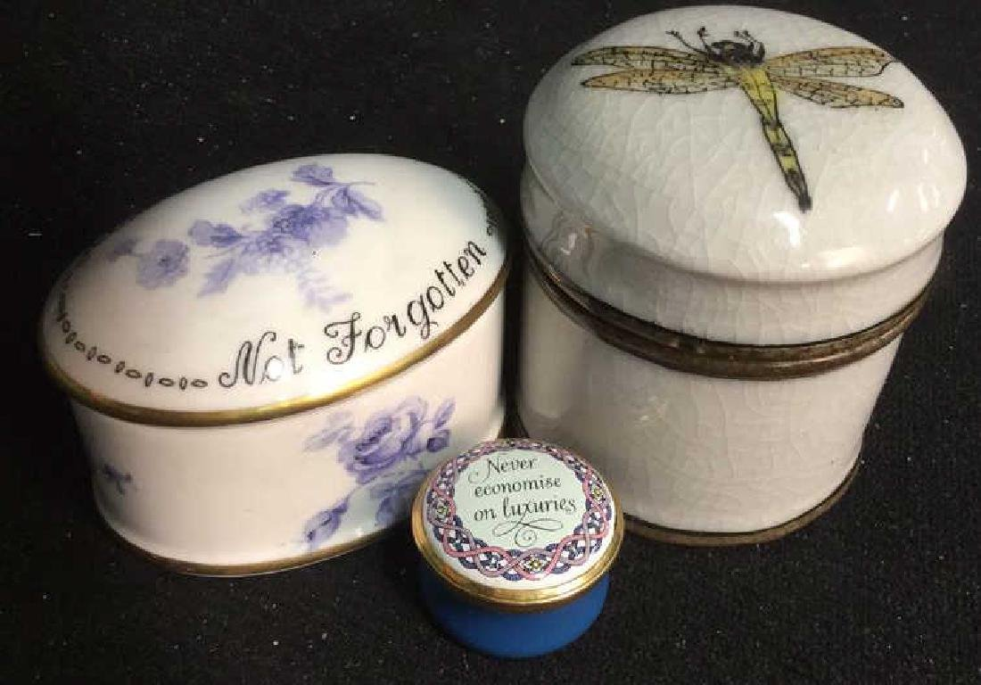 3 Group Lot  Lidded Trinket Pill Boxes