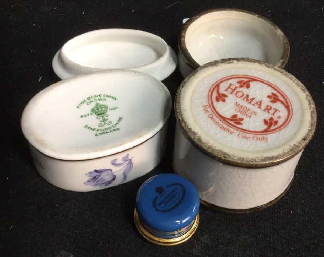 3 Group Lot  Lidded Trinket Pill Boxes - 2