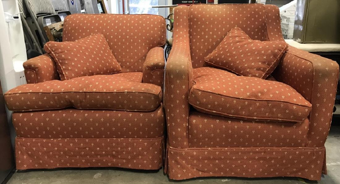 Lot 2 Orange Toned Upholstered Arm Chairs