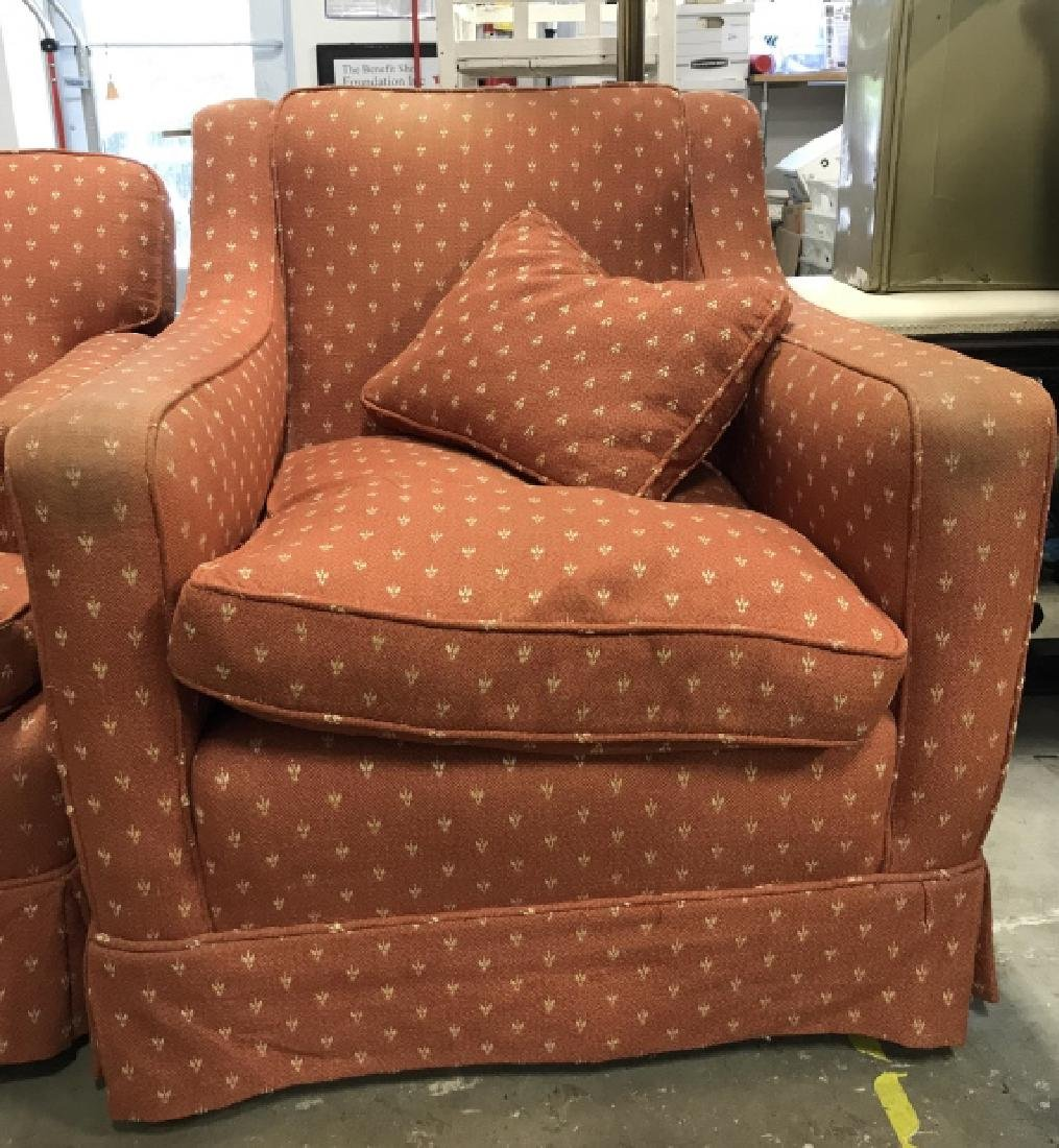 Lot 2 Orange Toned Upholstered Arm Chairs - 2