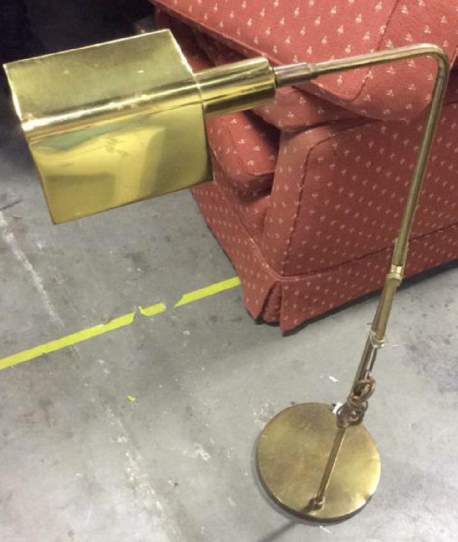 Mid Century Gold Toned  L shaped Floor Lamp