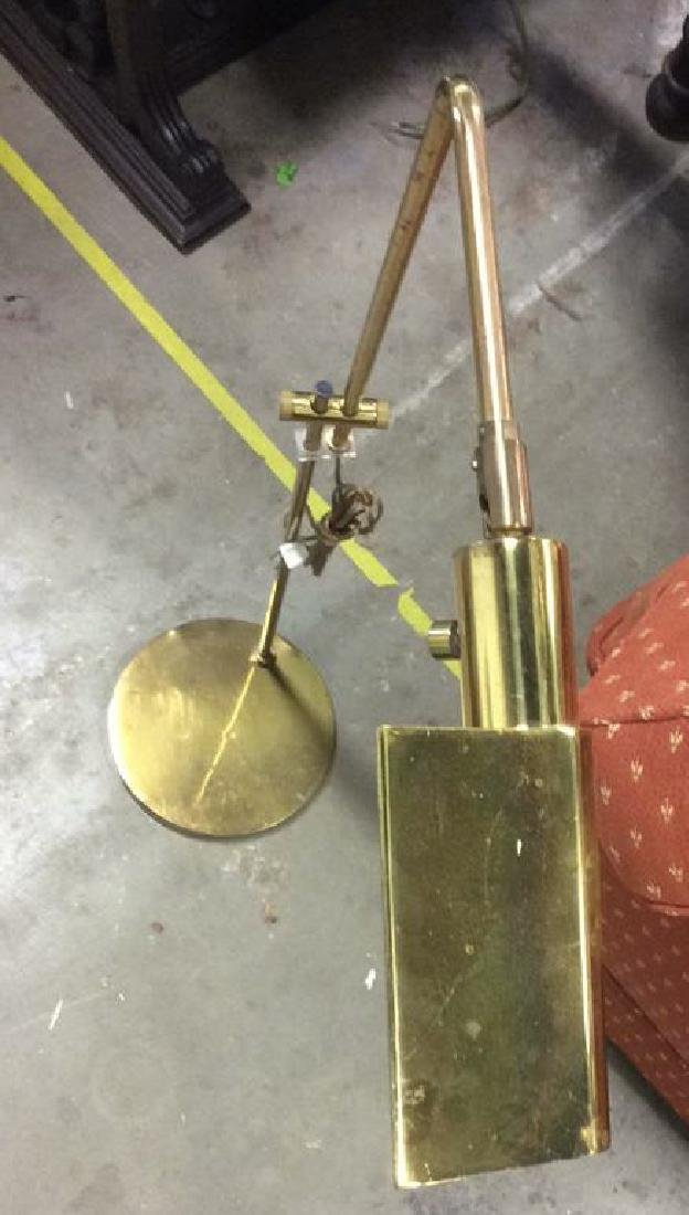 Mid Century Gold Toned  L shaped Floor Lamp - 7