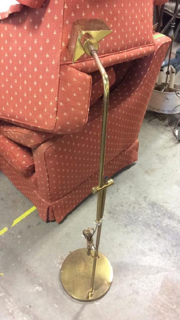 Mid Century Gold Toned  L shaped Floor Lamp - 8