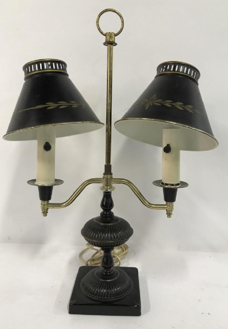 Vintage Tow Arm Tole and Brass Table Lamp