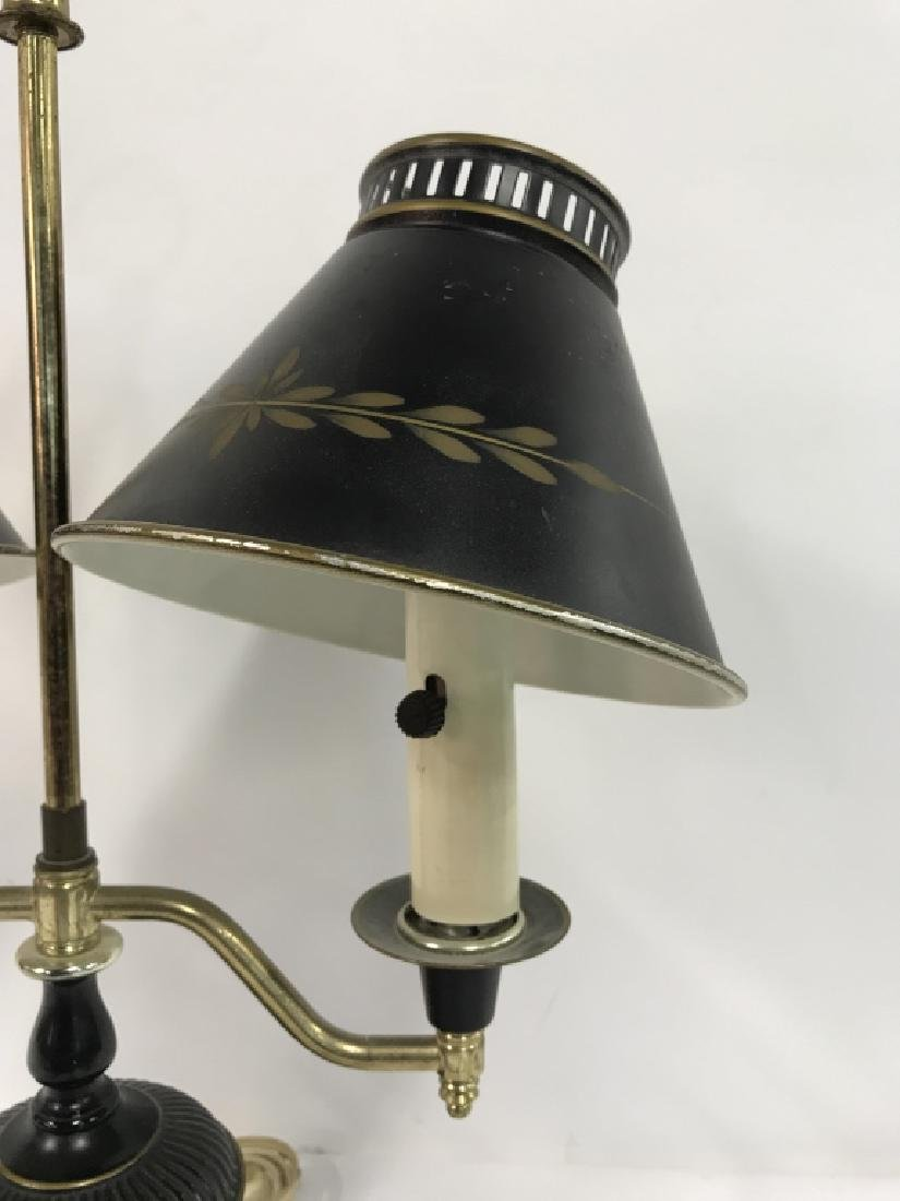 Vintage Tow Arm Tole and Brass Table Lamp - 2