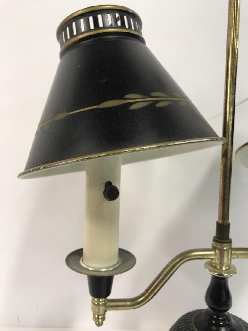 Vintage Tow Arm Tole and Brass Table Lamp - 3