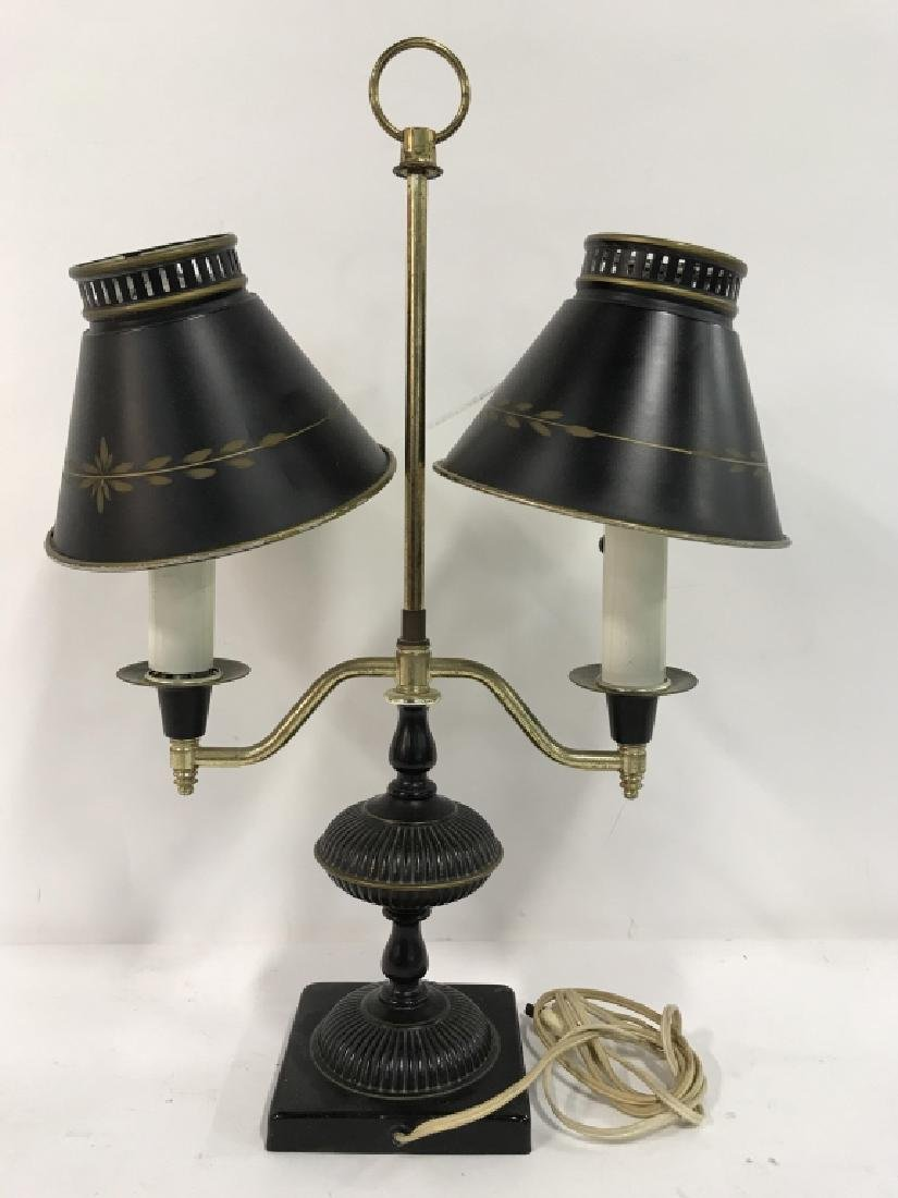 Vintage Tow Arm Tole and Brass Table Lamp - 7