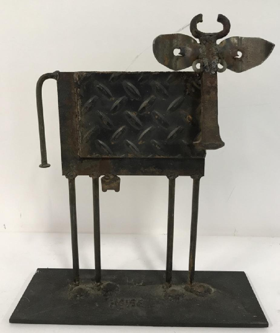 Iron  and Metal Folk Art Cow Sculpture