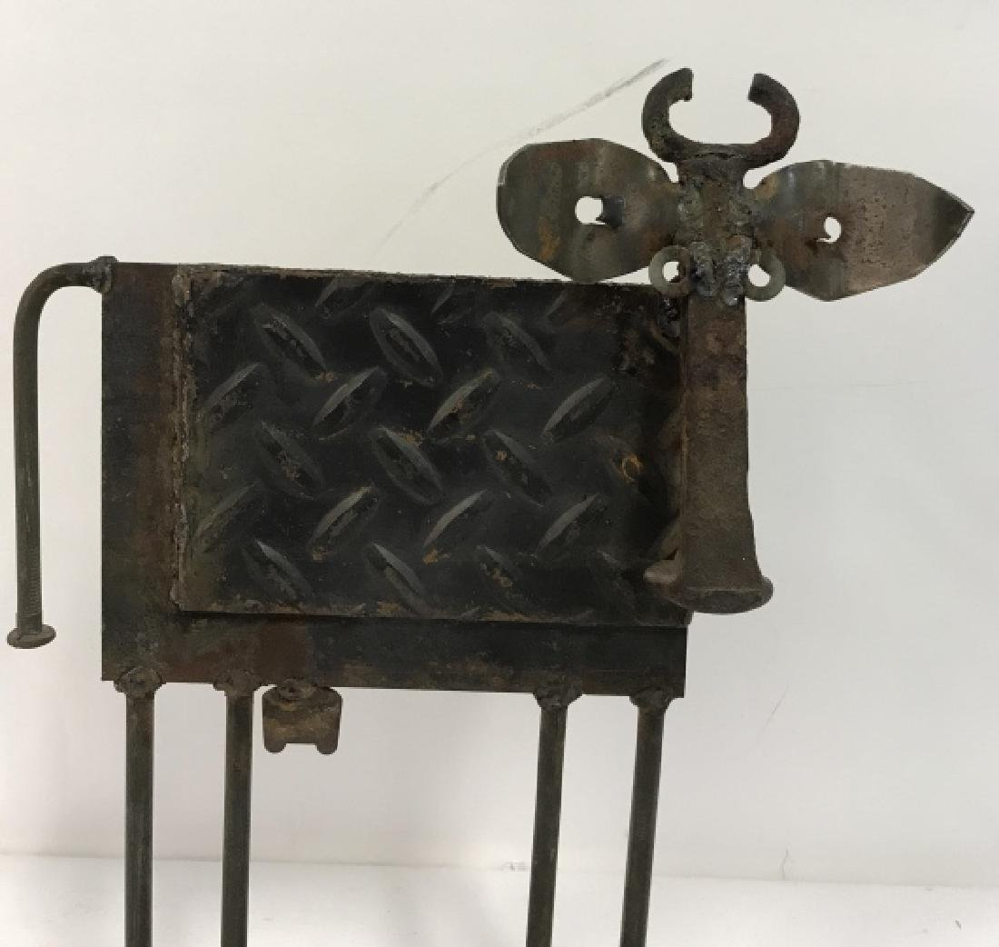 Iron  and Metal Folk Art Cow Sculpture - 2