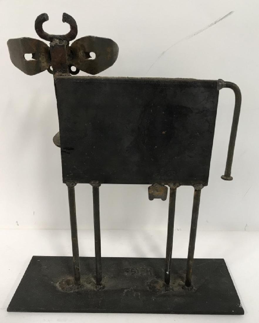 Iron  and Metal Folk Art Cow Sculpture - 6