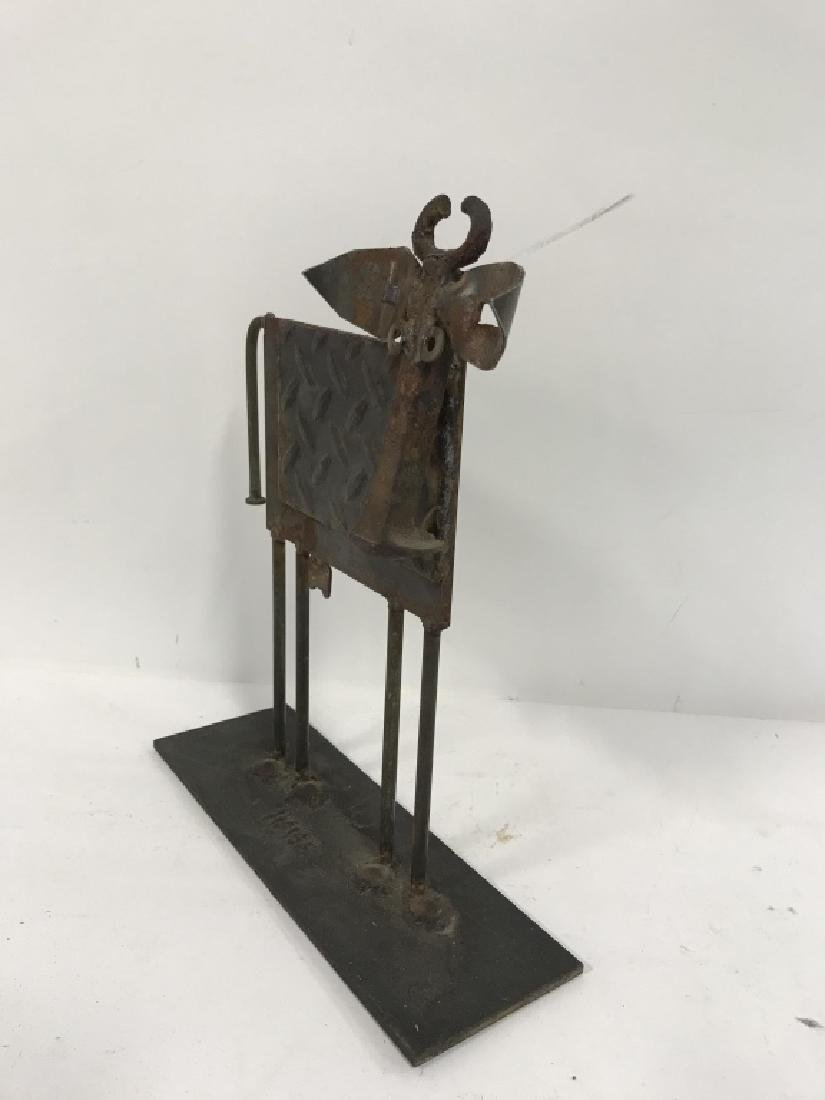 Iron  and Metal Folk Art Cow Sculpture - 8